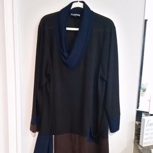 Navy Brown & black Tunic - size 3X Pyramid